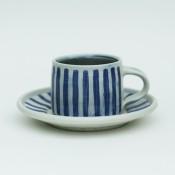 Jane Follett Pottery Blue Stripes Cup Front01
