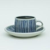 Jane Follett Pottery Blue Stripes Cup Front02