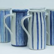 Jane Follett Pottery Colour Stripe Jugs Group01