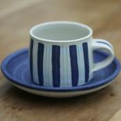Jane Follett Pottery Colour Stripe Mug on Wood