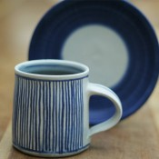 Jane Follett Pottery Colour Stripe Mug on Wood02
