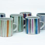 Jane Follett Pottery Colour Stripe Mugs Group01