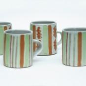 Jane Follett Pottery Colour Stripe Mugs Group02