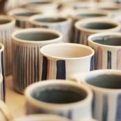 Jane Follett Pottery Colour Stripe Mugs Group04